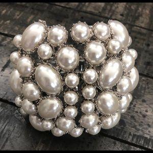 Gorgeous Silver & Pearl Cuff Bracelet